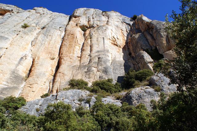 A la nostra dreta tenim les parets verticals de Montsant.