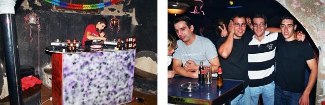 Esquerra: Sergi fent de discjoquei. Dreta: Josep Jasans parlant amb Marta Butet, i al costat Xavi Estivill, Ramon Camps i Francesc Estivill. (Fotos: Miquel Butet)