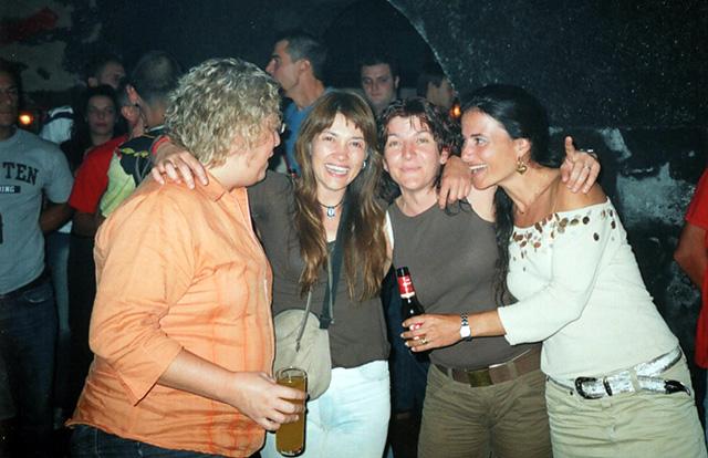 Marga Juncosa, Marisa Dalmau, Mercè Butet i Meritxell Cardona, la nit de la festa de comiat. (Foto: Maria Juncosa).