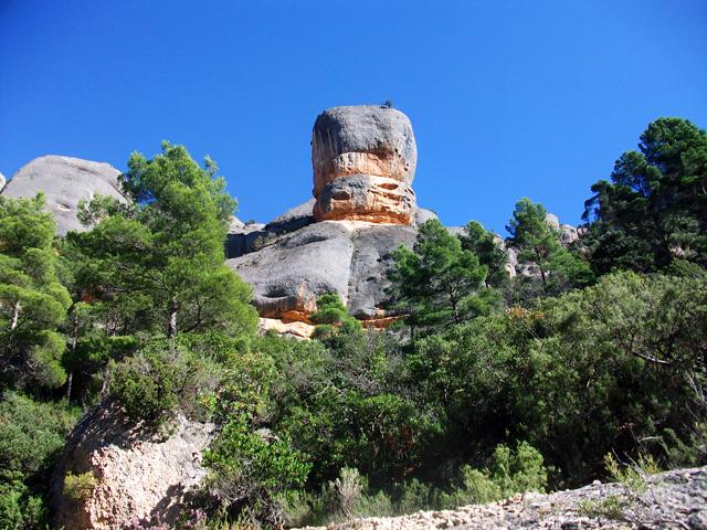 """A un parell de minuts de la balma del Sapo veiem la roca anomenada """"el Bisbe""""."""