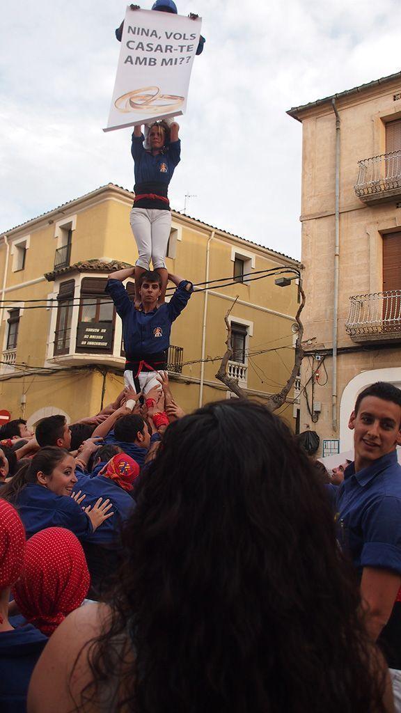 Pilar de 4 amb sorpresa dels Brivalls. L'autor de la pregunta, el segon. Foto: Marta Aragonés / Brivalls de Cornudella