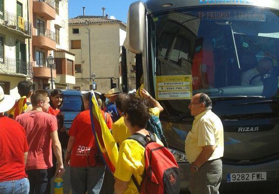 Sortida de Cornudella cap a Barcelona, l'11 de setembre. Foto: Meritxell Cardona.