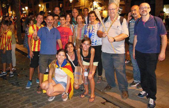 Cornudellencs a la Marxa de Torxes, a Barcelona, la vigília de l'11 de setembre. Foto: Manel Pozo Català.