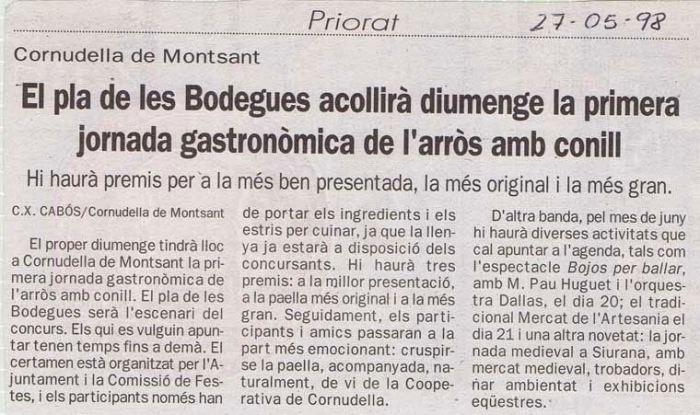 Diari de Tarragona, 27 de maig de 1998.