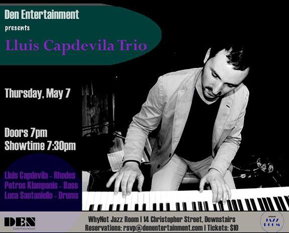 Cartell d'un concert de Lluís Capdevila Trio el passat mes de maig, a la WhyNot Jazz Room de Nova York.