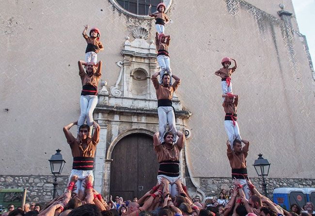 Vano de 5 dels Xiquets de Reus a Poboleda. Foto: Helena Miró